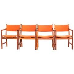 Midcentury Danish Set of 4 Chairs in Teak by Hans Wegner for Johannes Hansen