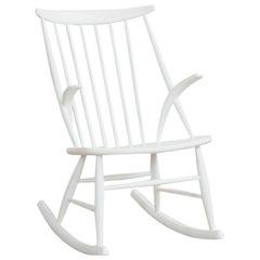 Midcentury White Rocking Chair by Illum Wikkelsø for Niels Eilersen