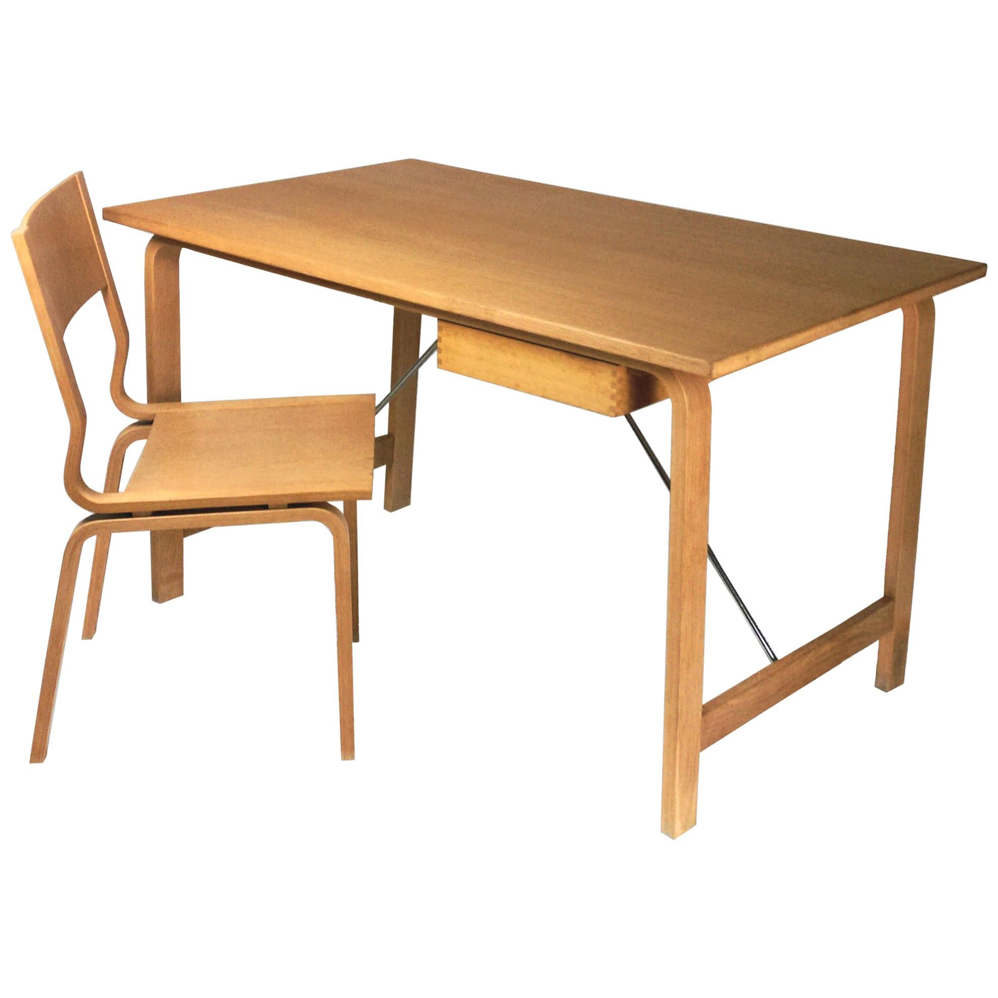 1965 Arne Jacobsen Set Of Four Saint Cathrines Desk And Chair In Oak