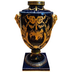 20th Century French Empire Blue Urn Vase with Gold Decoration, Jaget & Pinon
