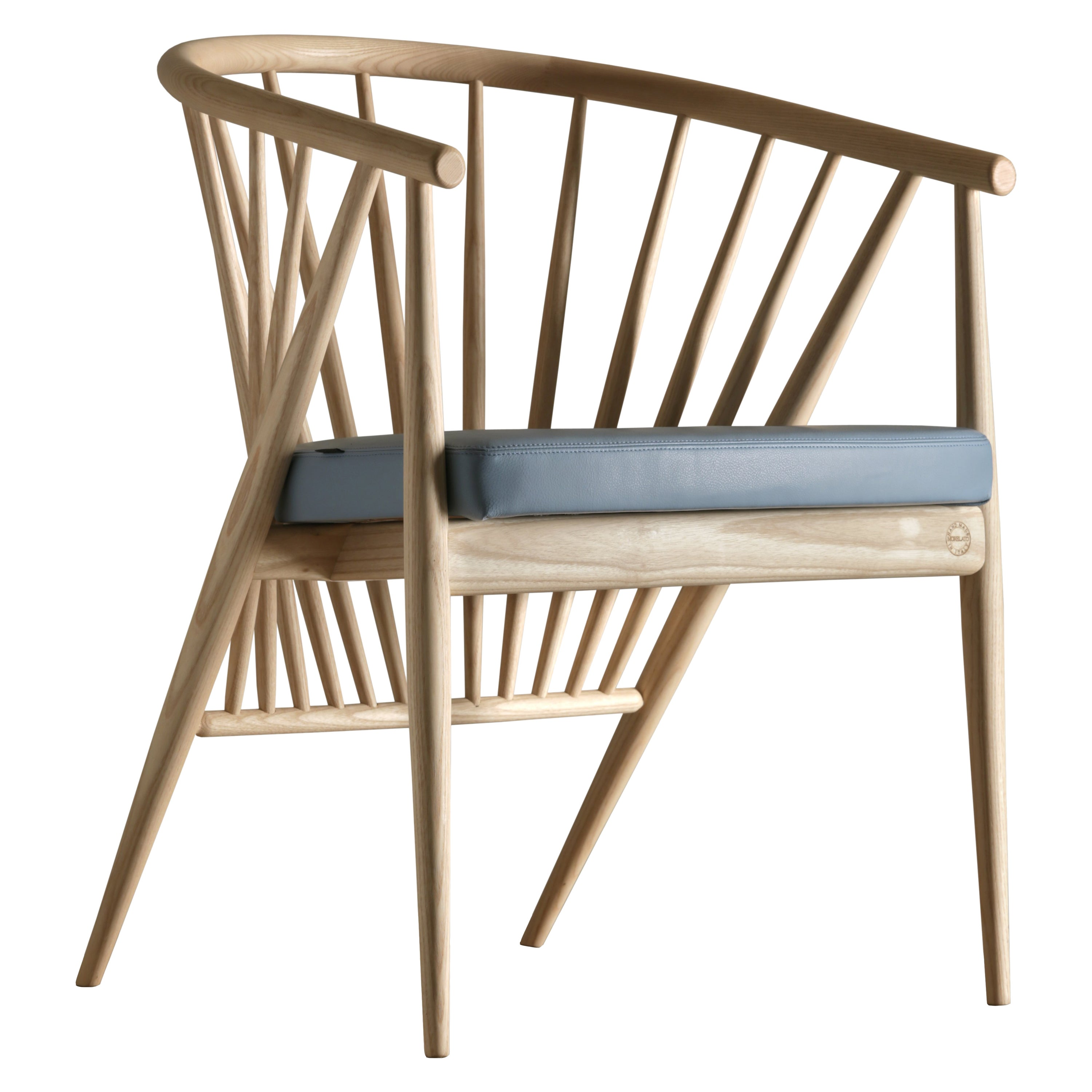 Jenny Contemporary Upholstered Easy Chair in Hand Turned Ashwood