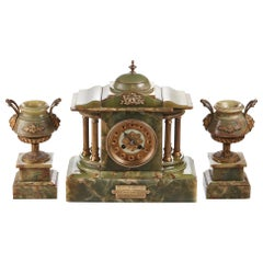 Outstanding Antique French Clock Set, circa 1860