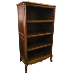 19th Century French Hand Carved Four Shelves Open Bookcase in Louis XV Style