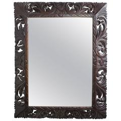 French 1920s Mirror with Hand-Carved Wooden Frame