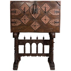 Spanish Desk 'Bargueño' Walnut 17th Century Support 19th Century Restored