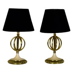 1950s Pair of Mini Table Lamps, Polished Brass and Lacquered Steel, France