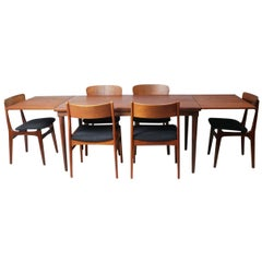 1970s Danish Midcentury Large Extendable Dining Table and 6 Dining Chairs