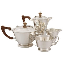 20th Century Art Deco Style Sterling Silver Four-Piece Tea and Coffee Service