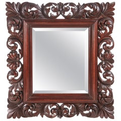 Outstanding Quality Antique Carved Walnut Wall Mirror