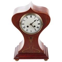 Antique Brass Inlaid Mahogany Art Nouveau Balloon Shaped Mantle Clock