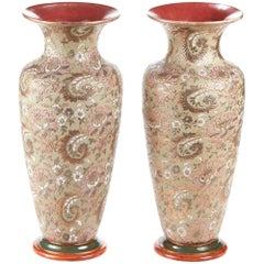 Large Antique Pair of Doulton Slaters Patent Baluster Vases