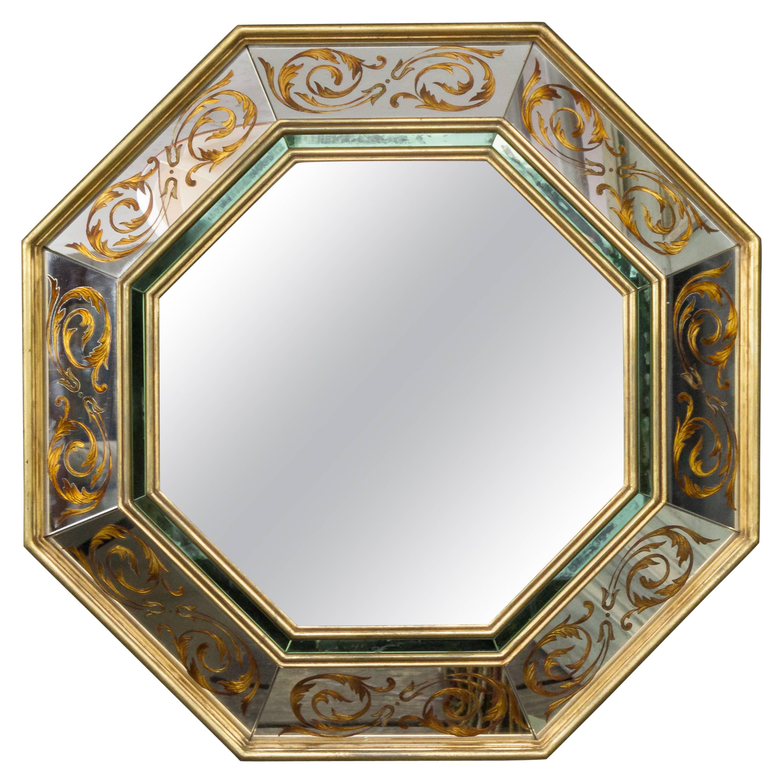 French 1940s Octagonal Reverse Eglomise Mirror