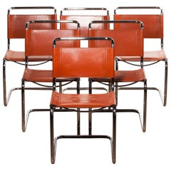 1970s, Set of Six Tubular Dining Chairs by Mart Stam for Fasem in Cognac Leather