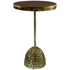 Unio Contemporary Brass Charging Side Table or Nightstand, Flow Collection