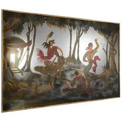 Pierre Pansard Large Painted Wall Mirror with Gypsies Dancing