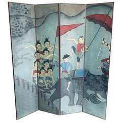 Four Fold Hand Painted Screen Depicting a Thai Folk Story