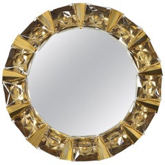 Illuminated Wall Mirror in Crystal Glass and Gilt Brass from Kinkeldey, 1970s