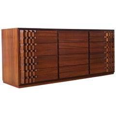 Mid-Century Modern Brutalist Luciano Frigerio Chest of Drawers in Walnut