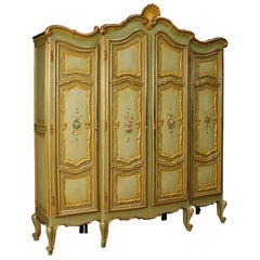 20th Century Painted and Gilded Wood Italian Wardrobe, 1970