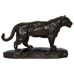 """""""Jaguar Standing"""" Bronze Sculpture by Antoine-Louis Barye and Barbedienne"""
