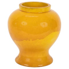 19th Century Japanese Yellow Glazed Ceramic Vase
