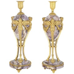 Pair of 19th Century Marble and Ormolu Candlesticks