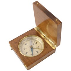 Small German Pocket Compass Made of Oak and Brass
