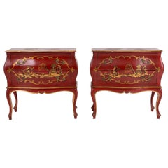 Pair of Little Italian Lacquered Commodes with Golden Pagodas, circa 1900-1950