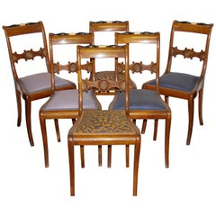 Set of Six Antique Ivory Side Chairs, Germany, Early 19th Century