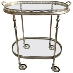 Vintage French Silver Oval Drinks Trolley or Bar Cart