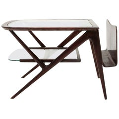Table with Teak and Glass Top, 1950s