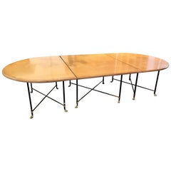 Custom Crafted Blonde Mahogany Jansen Style Dining or Conference Table