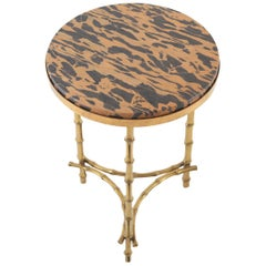 Maison Baguès Hollywood Regency Brass and Marble Side Table