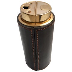 French Leather Stitched Art Deco Table Lighter by Delvaux