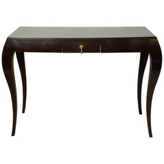 Dark Oak Console Table with Curved Legs and Single Drawer, France, circa 1960s