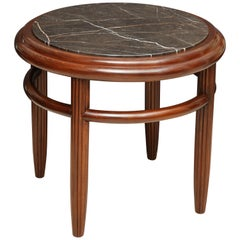 Circular Wood Side Table with Fluted Legs and Nero Gold Marble Top, France