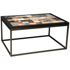 Rectangular Iron Coffee Table with Specimen Marble Top, Italy, circa 1960s