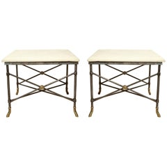 Pair of Midcentury Square Metal Side Tables with Limestone Tops