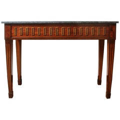 Italian Inlaid Ebony and Rosewood Console Table with a Belgian Blue Stone Top