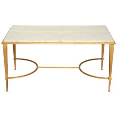 French Midcentury Gilt Iron Coffee Table with Travertine Top by Ramsay