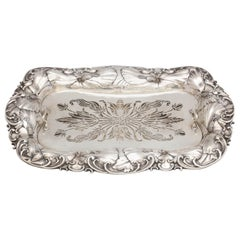 Art Nouveau Sterling Silver Asparagus Dish with Matching Sterling Silver Liner