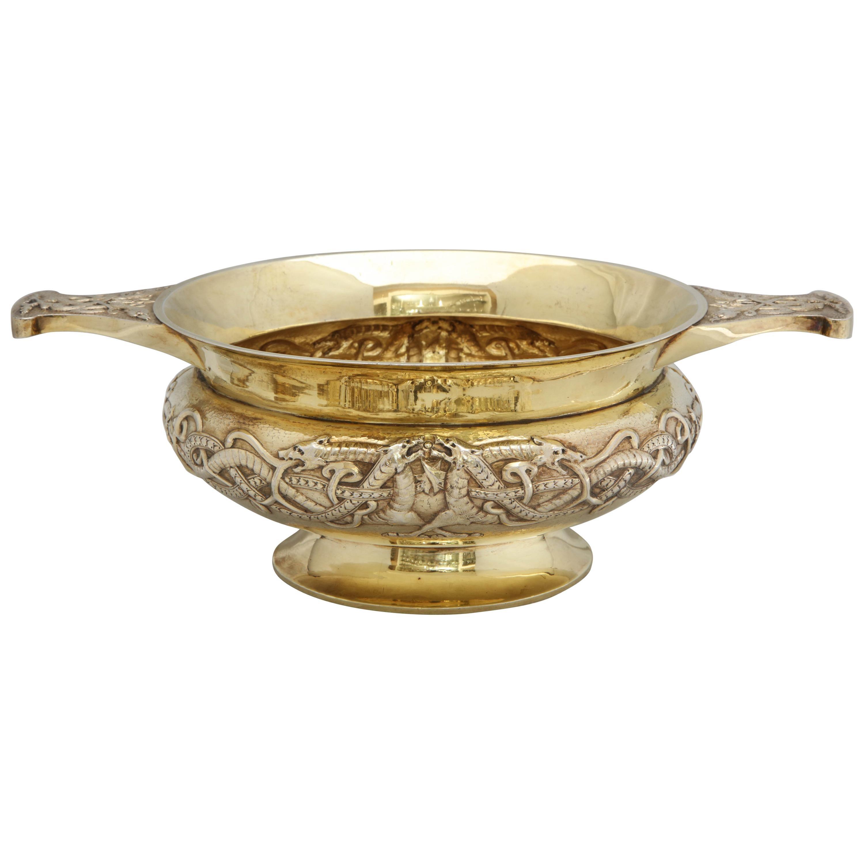 Edwardian Sterling Silver-Gilt Two-Handled Pedestal Based Centerpiece Bowl