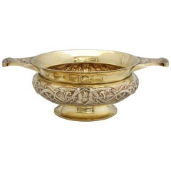 Edwardian Sterling Silver-Gilt Two-Handled Pedestal Based Centerpiece Bowl