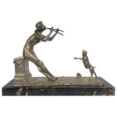 """Henri Fugere Art Deco Figural Sculpture """"Jeune Musicienne Charmant"""""""