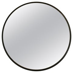 Minimalist Metal Framed Round Mirror in Blackened Steel Handmade by Laylo Studio