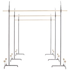 Hollywood Regency Bespoke Clothing Rack in Wrought Iron and Brass