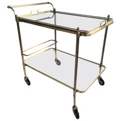 Maison Baguès Vintage Brass Drinks Trolley Cart