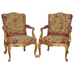 Pair of Antique European Baroque Armchairs, Gilded, with Original Tapestry