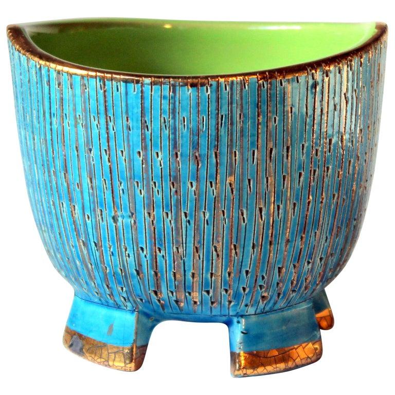 Bitossi Seta Blue Gold Pottery Londi Italian Raymor Vintage Pencil Jar Candy Bow For Sale