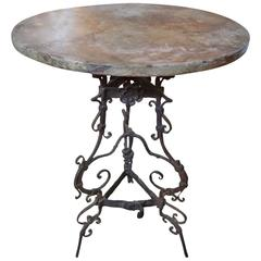 Antique French Iron Gueridon With Faux Marble Top